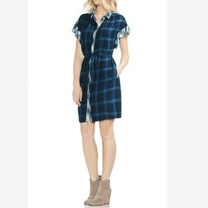 Vince Camuto Tartan Plaid Ruffle Sleeve Dress